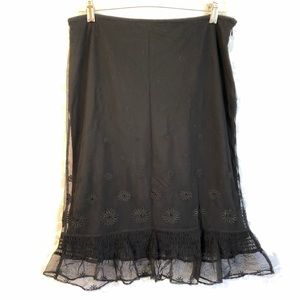 Express Black Flower Eyelet Skirt